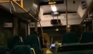 Busfahrer im leeren Bus
