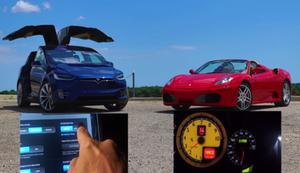 Tesla X P90D vs Ferrari F430