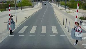 Zebra-Bahnübergang