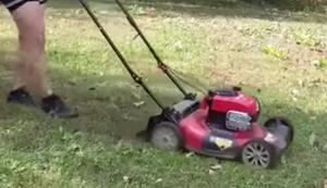 Ein echter Kerl beim Rasenmähen