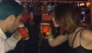 Bier-Battle zwischen Mann und Frau