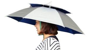 Regenschirm für den Kopf