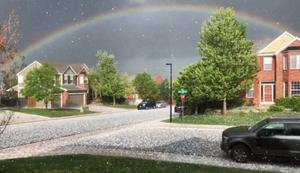 Regenbogen im Hagelschauer