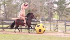 Ein Dino auf dem Pferd