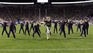 Maskottchen tanzt mit den Cheerleadern
